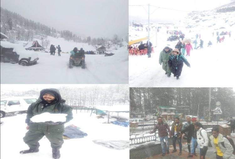 tourist enjoyed snowfall in manali and have snow scooters and horse riding