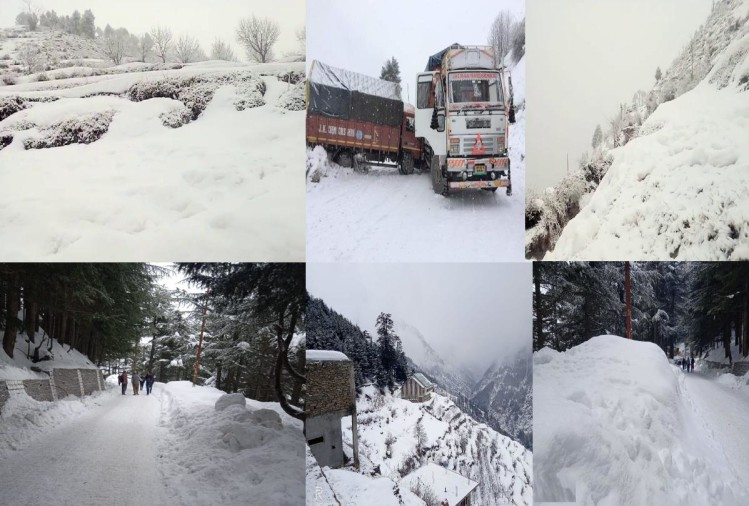 heavy snowfall recorded in himachal road blocked, passanger rescued