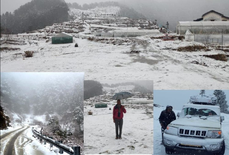 Snowfall In Mussoorie, Dhanaulti, nainital and Char dham Today, See Awesome visuals